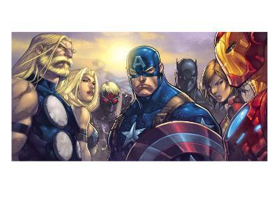 Ultimates 3 No.5 Cover: Captain America, Hawkeye, Black Panther, Iron Man, Wasp, Thor and Sif-Joe Madureira-Art Print