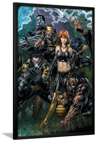 Ultimatum No.5 Cover: Grey, Jean, Beast, Wolverine, Cyclops, Colossus, Storm and Nightcrawler-David Finch-Lamina Framed Poster