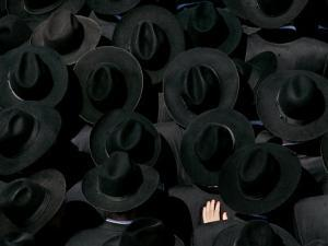 Ultra Orthodox Jewish Men Look on as They Watch the Burial of Prominent Jewish Rabbi Shlomo Wolbe