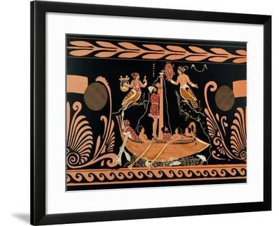 Ulysses and the Sirens, Illustration from an Antique Greek Vase--Framed Giclee Print