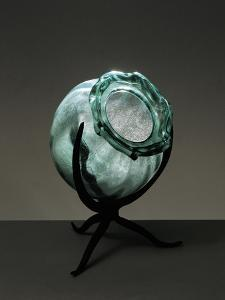 Witches Cauldron, Green Blown Glass Vase with Rib Molding, Ca 1910 by Umberto Boccioni