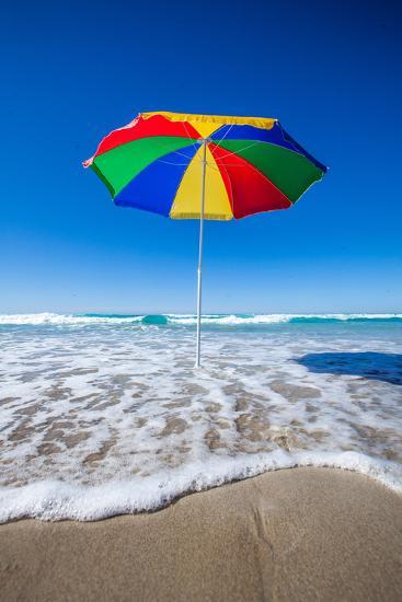 Umbrella at the Beach-John White Photos-Photographic Print
