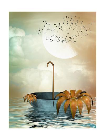 Umbrella In The Ocean-justdd-Art Print