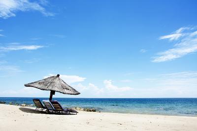 Umbrella on the Beach on a Sunny Day, Chintheche Beach, Lake Malawi, Africa-Yolanda387-Photographic Print