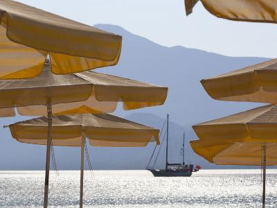 Umbrellas and Yacht, Psili Ammos, Samos, Aegean Islands, Greece-Stuart Black-Photographic Print
