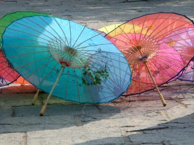 Umbrellas For Sale, China-Bruce Behnke-Photographic Print