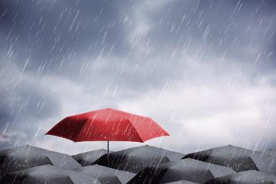 Umbrellas under Rain and Thunderstorm-Nomad Soul-Photographic Print