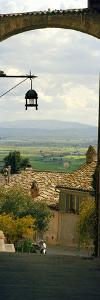 Umbrian Countryside Viewed Through an Alleyway, Assisi, Perugia Province, Umbria, Italy