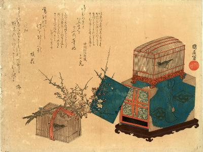 Ume Ni Kago No Uguisu, Caged Bush Warbler and Plum. Print Shows Two Birdcages, One Sitting on a Box--Giclee Print