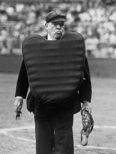 Umpire Bill Summers Glaring Toward Cleveland Indians Dugout-George Silk-Premium Photographic Print