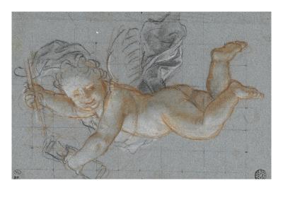 Un amour planant dans les airs, un objet dans chaque main ; deux amours volant se donnant la main-Antoine Coypel-Giclee Print