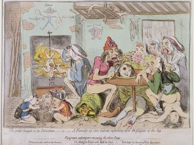 Un Petit Souper a La Parisienne, or a Family of Sans-Culottes Refreshing after the Fatigues of?-James Gillray-Giclee Print