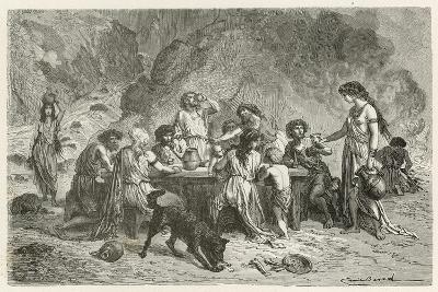 Un Repas a L'Epoque Du Bronze-Emile Antoine Bayard-Giclee Print