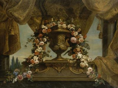 Un vase d'or couvert posé sur un socle de phorphyre, le fond est un rideau et un ciel  1702-1704-Jean Belin-Giclee Print