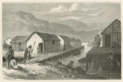 Un Village Lacustre De La Suisse a L'Epoque Du Bronze-Emile Antoine Bayard-Giclee Print