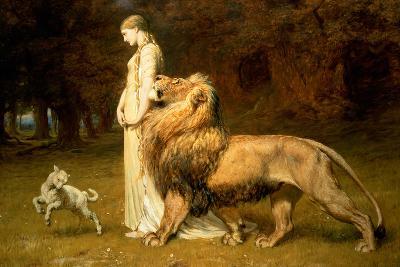 Una and the Lion, from Spenser's Faerie Queene, 1880-Briton Rivi?re-Giclee Print
