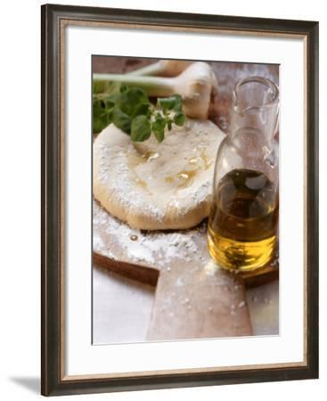 Unbaked Pizza, Herbs, Garlic and Olive Oil--Framed Photographic Print