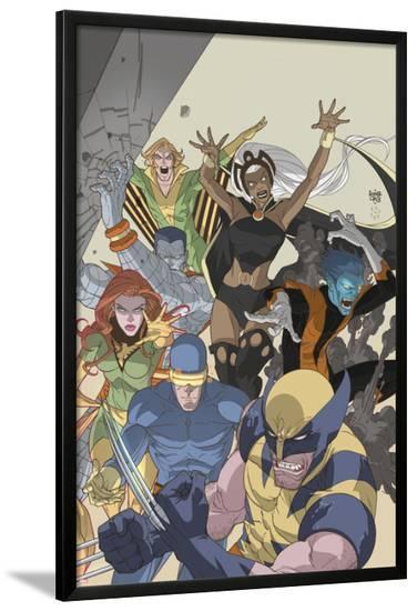 Uncanny X-Men: First Class No.4 Cover: Wolverine, Cyclops, Phoenix, Storm and Nightcrawler-Roger Cruz-Lamina Framed Poster
