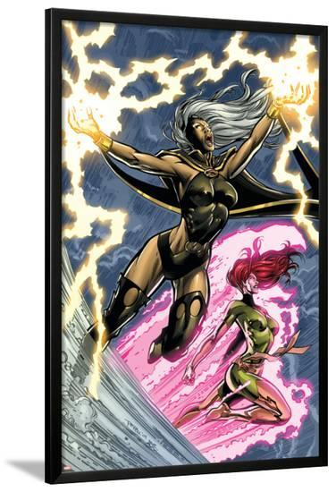 Uncanny X-Men: First Class No.6 Cover: Storm and Phoenix-Paul Pelletier-Lamina Framed Poster
