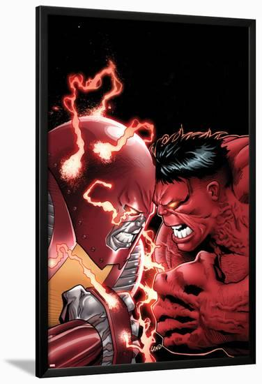 Uncanny X-Men No.11 Cover: Colossus and Red Hulk Fighting-Greg Land-Lamina Framed Poster