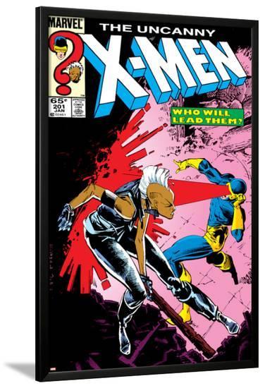 Uncanny X-Men No.201 Cover: Storm and Cyclops-Rick Leonardi-Lamina Framed Poster