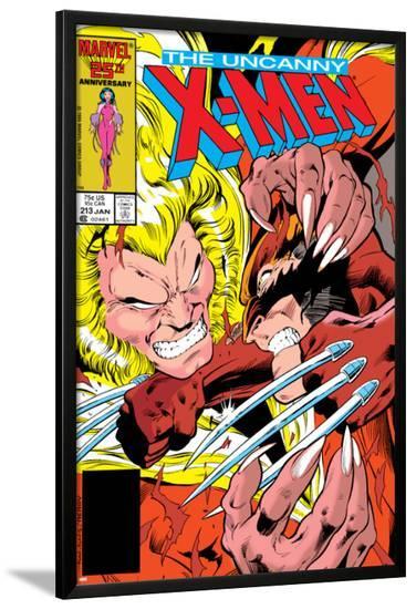 Uncanny X-Men No.213 Cover: Sabretooth and Wolverine-Alan Davis-Lamina Framed Poster