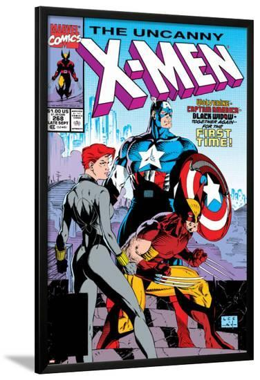 Uncanny X-Men No.268 Cover: Black Widow, Wolverine and Captain America-Jim Lee-Lamina Framed Poster