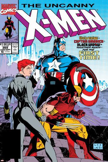 Uncanny X-Men No.268 Cover: Black Widow, Wolverine and Captain America-Jim Lee-Art Print