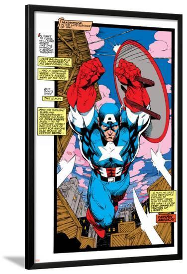 Uncanny X-Men No.268 Cover: Captain America-Jim Lee-Lamina Framed Poster