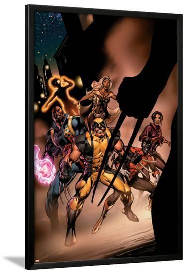 Uncanny X-Men No.450 Cover: Wolverine, Bishop, Nightcrawler, Storm and X-Men Fighting-Alan Davis-Lamina Framed Poster