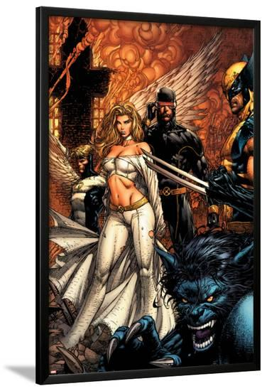 Uncanny X-Men No.494 Cover: Beast, Emma Frost, Cyclops and Wolverine-David Finch-Lamina Framed Poster