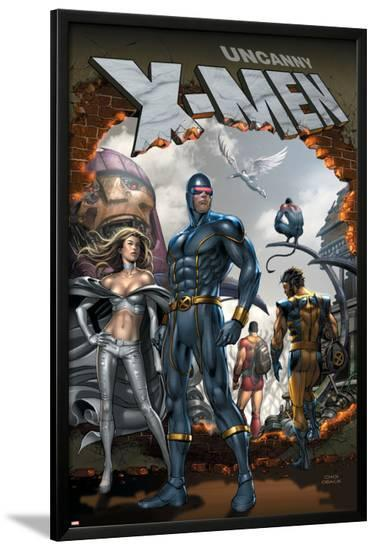 Uncanny X-Men No.495 Cover: Cyclops and Emma Frost Swinging-Mike Choi-Lamina Framed Poster