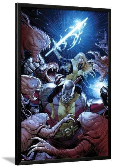 Uncanny X-Men No.8 Cover: Colossus and Magik Fighting-Greg Land-Lamina Framed Poster