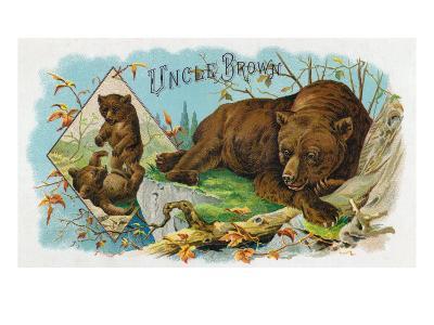 Uncle Brown Brand Cigar Box Label, Brown Bears-Lantern Press-Art Print