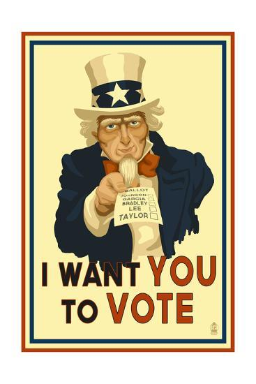 Uncle Sam - I Want You to Vote - Political-Lantern Press-Art Print