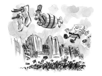 Uncle Sam in a barrel is a float in a parade. - New Yorker Cartoon-Lee Lorenz-Premium Giclee Print
