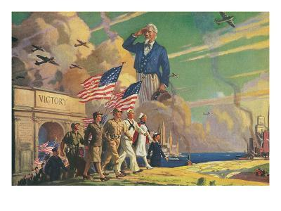 Uncle Sam Saluting Soldiers and Sailors--Art Print