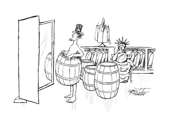 Uncle Sam tries on a barrel in a men's clothing store, as the Statue of Li…  - New Yorker Cartoon Premium Giclee Print by Mischa Richter | Art com
