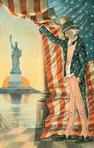 Uncle Sam Viewing Statue of Liberty