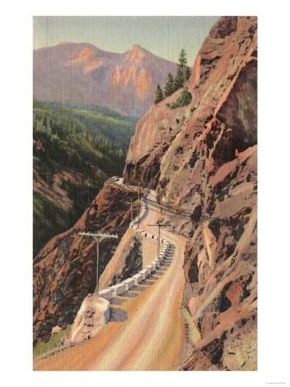 Uncompahgre Gorge and Million Dollard Highway, Colorado - Million Dollar Highway, CO-Lantern Press-Art Print
