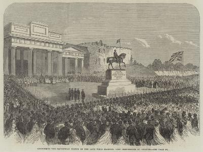 Uncovering the Equestrian Statue of the Late Field Marshal Lord Combermere at Chester--Giclee Print