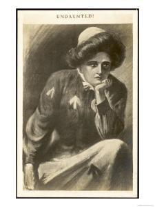 Undaunted, a Suffragette in Prison Uniform Contemplates