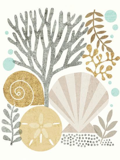 Under Sea Treasures V Gold Neutral-Michael Mullan-Art Print