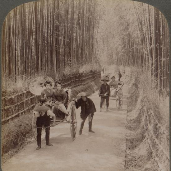 Under the bamboo trees - on the famous avenue near Kiyomizu, Kyoto, Japan, 1904-Unknown-Photographic Print