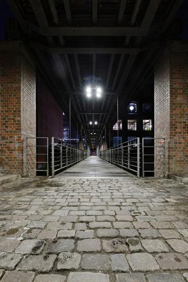 Under the KibbelstegbrŸcke (Bridge) by Night, Speicherstadt (City of Warehouses), Germany-Axel Schmies-Photographic Print