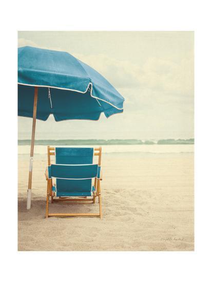 Under the Umbrella II - Bright Turquoise-Elizabeth Urquhart-Art Print