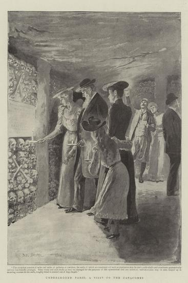 Underground Paris, a Visit to the Catacombs-Paul Destez-Giclee Print