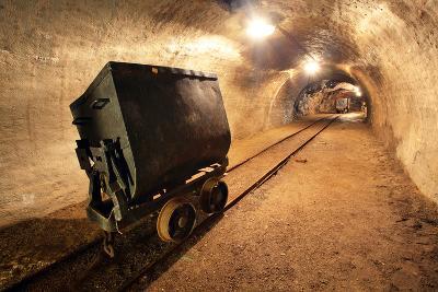 Underground Train in Mine, Carts in Gold, Silver and Copper Mine.-TTstudio-Photographic Print