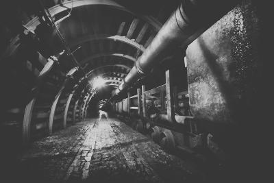 Underground Train in Mine, Carts in Gold, Silver and Copper Mine.-irontrybex-Photographic Print
