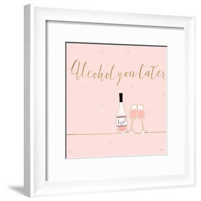 Underlined Bubbly VIII Pink-Veronique Charron-Framed Art Print